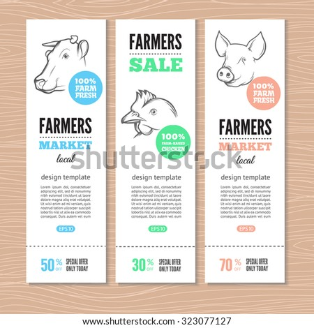 Vertical banners with cow, pig and chicken. Perfect for farm market advertising, farming industry and meat product business. Modern business identity for bio products and agricultural industry. - stock vector