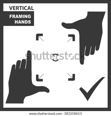 Vertical black framing hands as a template for design. Hand frame made from fingers. Vector perspective view illustration. - stock vector
