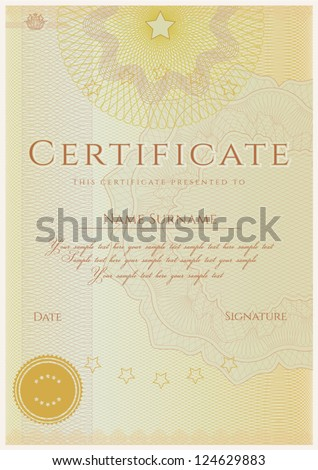 Vertical certificate of completion template with guilloche pattern (watermarks). This design usable for diploma, invitation, gift voucher, coupon, official or different awards. Vector illustration - stock vector
