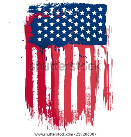 Vertical composition vector american flag in grunge style - stock vector