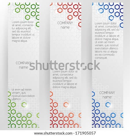Vertical Corporate Banners Set With Hexagonal Design - vector EPS10 - stock vector
