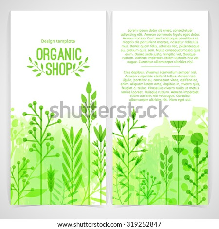 Vertical design template of brochures, booklets, posters, banners about organic shop. Design with leaves and herb. Vector. - stock vector