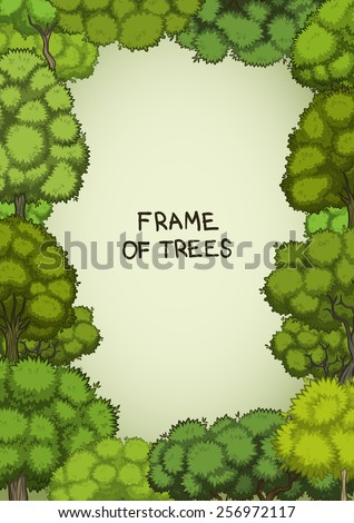 Vertical frame of the cartoon deciduous trees - stock vector