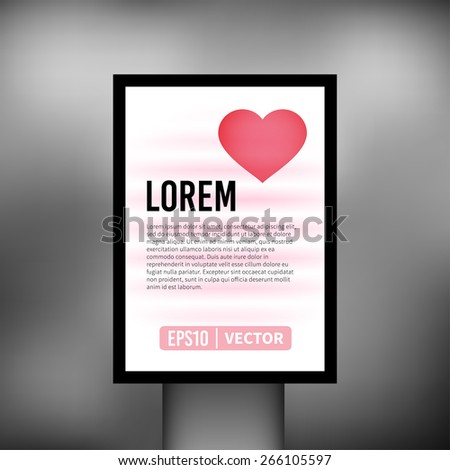 Vertical heart light billboard background vector illustration - stock vector