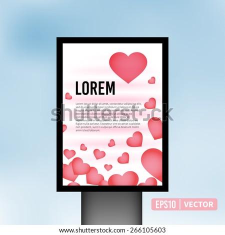 Vertical heart light billboard background vector illustration - stock vector
