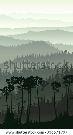 Vertical illustration of morning misty coniferous forest hills. - stock vector
