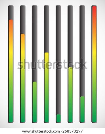 Vertical level indicator set with color code (Red at high level) - stock vector