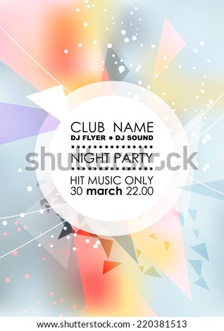 Vertical light  blue music party background with colorful graphic elements and place for text.  Vector illustration. - stock vector