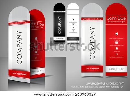 Vertical mini business card - stock vector
