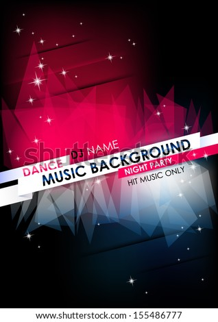 Vertical music background with stars and place for text.  Vector version. - stock vector