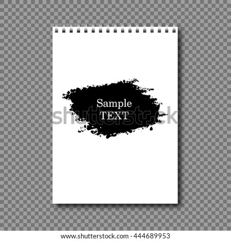 Vertical notebook on a spring ink design - stock vector