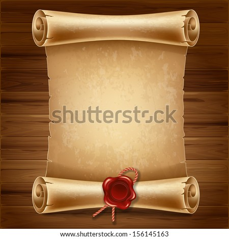Vertical old scroll paper on wooden background with space for your text - stock vector
