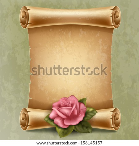 Vertical old scroll paper with beautiful rose and space for your text - stock vector