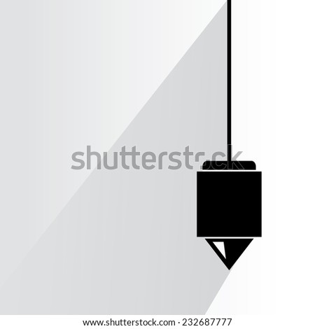 vertical plumb on white background, flat and shadow theme - stock vector