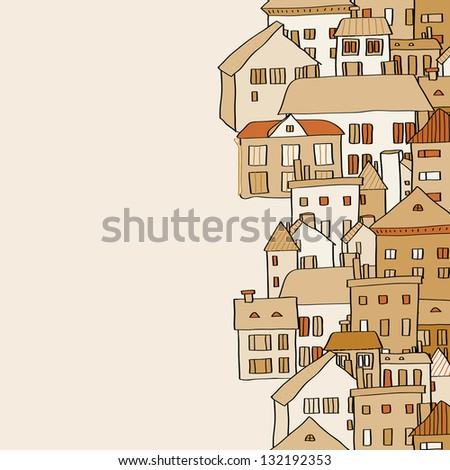 Vertical real estate town houses banner seamless pattern in shades of brown, vector - stock vector