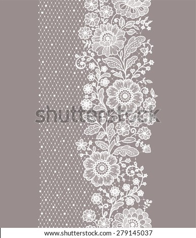 Vertical Seamless pattern lace. - stock vector