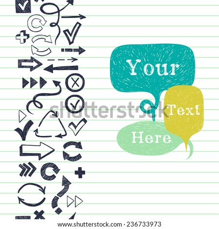 Vertical seamless pattern with arrows, checkmarks and checkboxes drawn in a doodled style and speech bubbles for the text on lined notepaper background. - stock vector