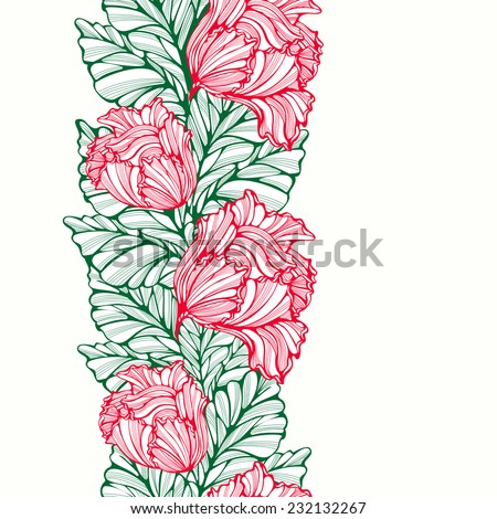 Vertical seamless pattern with tulips and leaves. Abstract floral background with line art lacy vertical seamless pattern. Repeatable ornament with vintage drawing. Copy space. Vector is EPS8. - stock vector