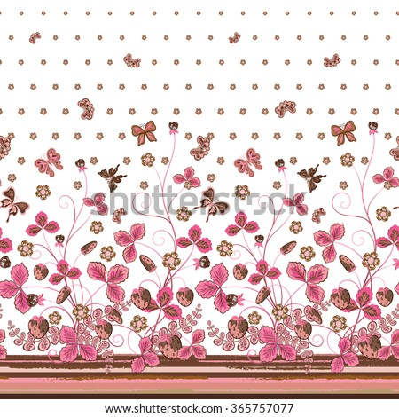 Vertical Seamless pink brown floral pattern with strawberries and flowers and translucent butterflies. Hand drawn texture for clothes, bedclothes, invitation, card design etc. - stock vector