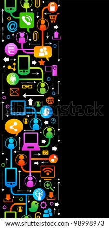 vertical-seamless vector background with icons on internet. social network, communication in the global computer networks - stock vector
