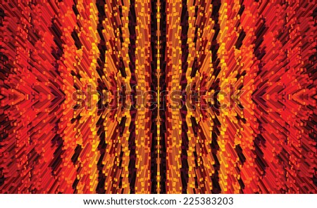 Vertical striped seamless pattern with extrusion elements in red,yellow,brown colors - stock vector