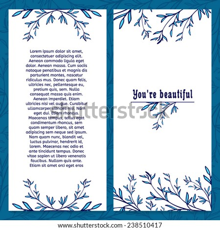 Vertical template greeting card with place for your text. Decorated with floral elements in blue branch and leaves. - stock vector