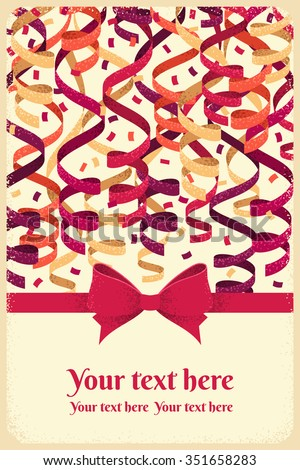 Vertical template with red bow and ribbon, colorful paper streamers and confetti. Retro vector illustration. Close up. Background for gift certificate, invitation, banner, card, poster - stock vector