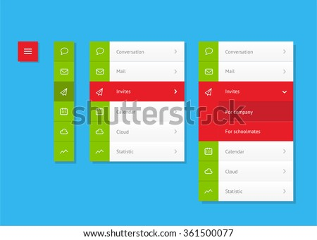 Vertical vector menu. UI element - stock vector