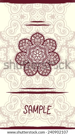 Vertical wedding Card with ornate mandala floral pattern. Vintage decorative element. Hand drawn background. Islamic, arabic, indian, ottoman, asian motifs. Tribal design in henna color. flyer design - stock vector