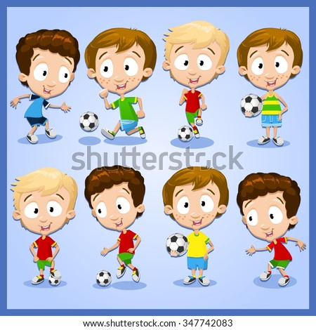 Very adorable boy character set with different poses playing football - stock vector