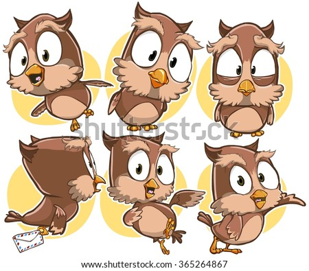 Very adorable set of cartoon owl bird character with different poses and emotions isolated on background - stock vector