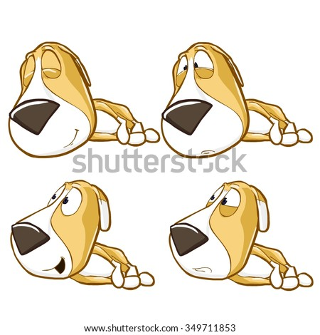 Very adorable vector cartoon dog puppy character set with different poses and emotions in collection. Isolated on white background - stock vector