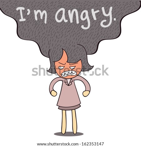 Very angry business woman standing in stressful and frustrated emotion. You can write your own text replace the message ' I'm angry'.  - stock vector