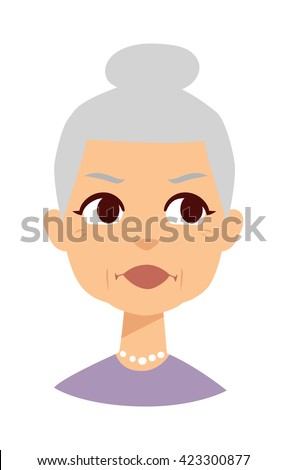 Very attractive senior lady smiling isolated on white. Granny face vector and granny face cute cartoon lady. Granny face old senior female person and elderly beautiful age granny face. - stock vector