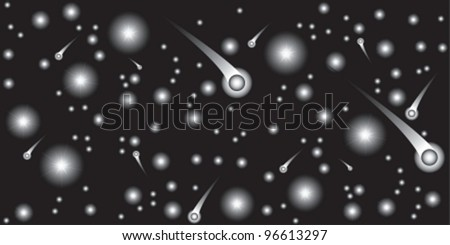 Very beautiful composition from star and comet. Vector illustration. EPS8, all parts (object) closed, possibility to edit, without transparence. seamless - stock vector