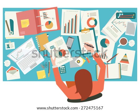 Very busy businesswoman working with paperwork on her desk at office. Flat design. Top view.   - stock vector