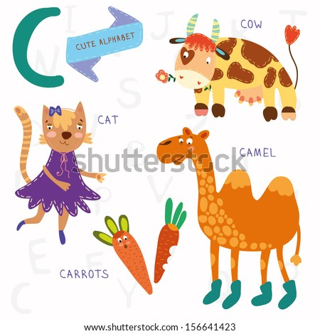 Very cute alphabet. A letter. Cat, cow, camel, carrots. Alphabet design in a colorful style. - stock vector