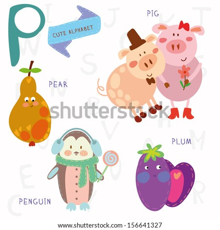 Very cute alphabet. A letter. Pear, pig, penguin, plum. Alphabet design in a colorful style. - stock vector