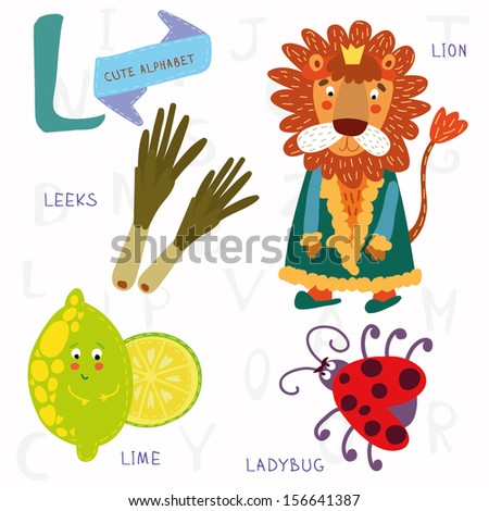 Very cute alphabet. L letter.Leeks, lion, ladybug, lime. Alphabet design in a colorful style. - stock vector