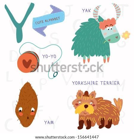 Very cute alphabet. Y letter. Yorkshire terrier,yam,yo-yo,yak. Alphabet design in a colorful style. - stock vector