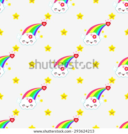 Very cute and fun pattern with a rainbow, which is able to smile. Hearts, flowers and roses. - stock vector