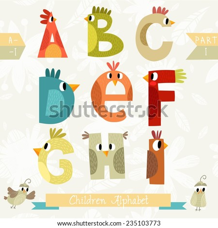 Very cute children alphabet made of characters birds in vector . Part I. Learn to read. Isolated. Alphabet design in a colorful style. - stock vector
