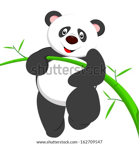 very cute panda climbing bamboo - stock vector