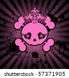 Very cute Skull with crown on grange radial background with place for copy/text - stock vector