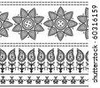 Very detail Henna art Inspired Border designs - stock vector