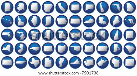 Very detailed buttons of all fifty states. States are organized alphabetically let to right, top to bottom. - stock vector
