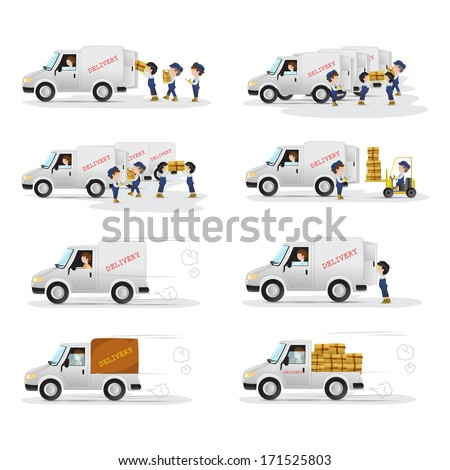 Very Detailed Drawn Transport Workers - Isolated On White Background - Vector Illustration, Graphic Design. Different Types Of Transport, Workers Are Equipped With Blue Uniforms And Caps  - stock vector