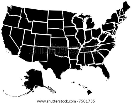 Very detailed vector file of all fifty states. Each state is grouped individually and labeled in the layers palette. - stock vector