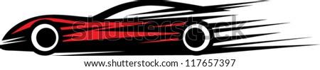 very fast sport car illustration - stock vector