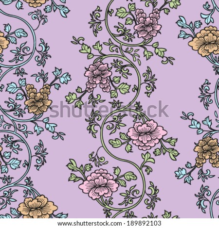 Very feminine and beautiful floral seamless pattern on a purple background - vector - stock vector